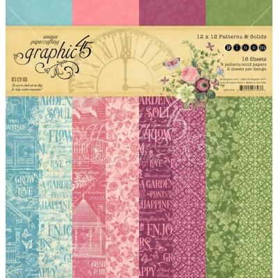 """Graphic 45 - «Bloom» Ensemble de papier 12"""" X 12""""  16 feuilles"""