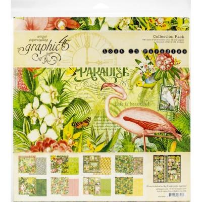 """Graphic 45 - «Lost in Paradise» Ensemble de papier 12"""" X 12""""  16 feuilles"""