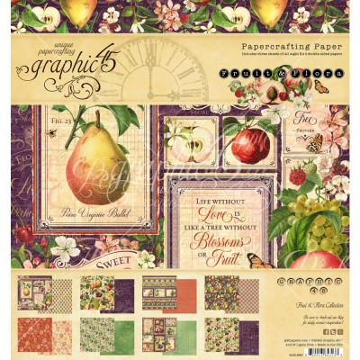 """Graphic 45 - «Fruit and Flora» Ensemble de papier 8 x 8""""  24 feuilles"""