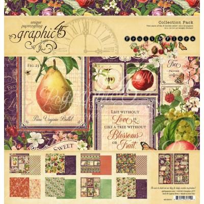 """Graphic 45 - «Fruit and Flora» Ensemble de papier 12"""" X 12""""  16 feuilles"""