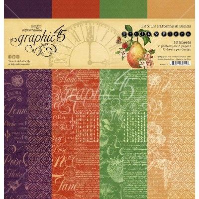 """Graphic 45 - «Fruit and Flora» Patterns and Solids 12"""" X 12""""  16 feuilles"""