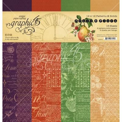 """Graphic 45 - «Fruit & Flora» Ensemble de papier 12"""" X 12""""  16 feuilles"""