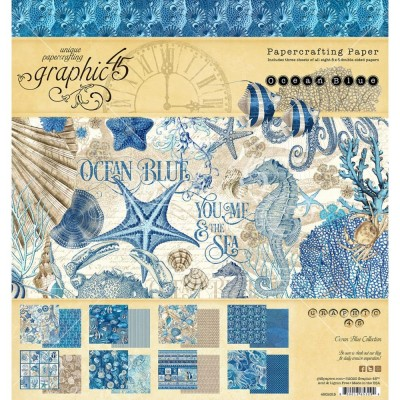 "Graphic 45 - «Ocean Blue» Ensemble de papier 8 x 8""  24 feuilles"