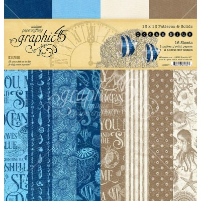 """Graphic 45 - «Ocean Blue» Patterns and Solids 12"""" X 12""""  16 feuilles"""