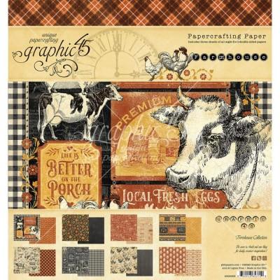 """Graphic 45 - «Farmhouse» Ensemble de papier 8 x 8""""  24 feuilles"""