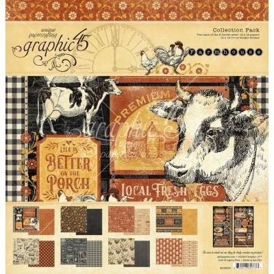 """Graphic 45 - «Farmhouse» Ensemble de papier 12"""" X 12""""  16 feuilles"""
