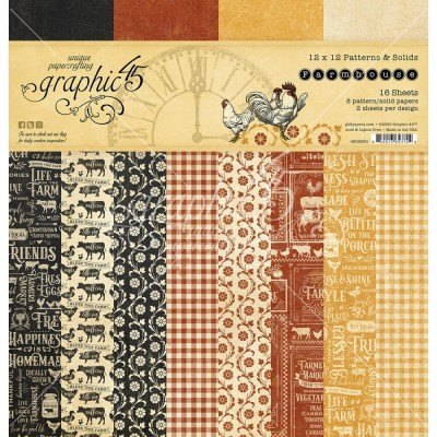 "Graphic 45 - «Farmhouse» Patterns and Solids 12"" X 12""  16 feuilles"