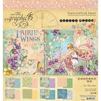 """Graphic 45 - «Fairie Wings» Ensemble de papier 8 x 8""""  24 feuilles"""