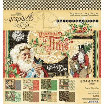 "Graphic 45 - «Christmas time» Ensemble de papier 8 x 8""  24 feuilles"