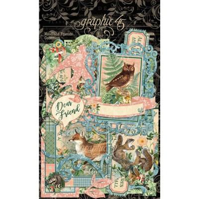 LIQUIDATION-Graphic 45 - «Woodland Friends» paquet Éphémeras  48 pièces (le prix indiqué ci-dessous est déjà réduit à 50%)