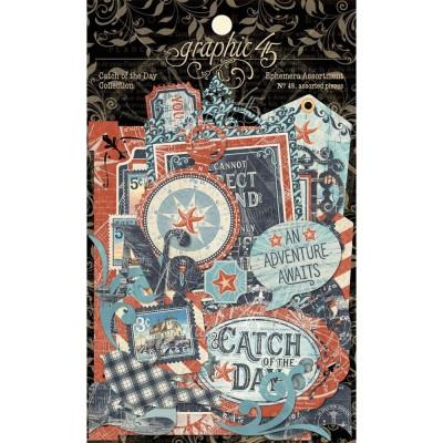 LIQUIDATION- Graphic 45 - «Catch Of The Day» paquet d'éphémeras  48 pièces (le prix indiqué ci-dessous est déjà réduit à 50%)