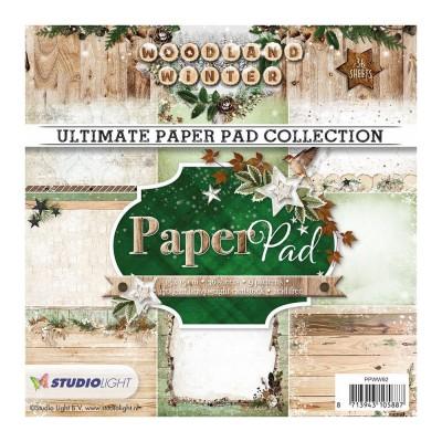 """Studio Light - Bloc de papier collection «Woodland winter» 6"""" X 6""""  36 feuilles"""