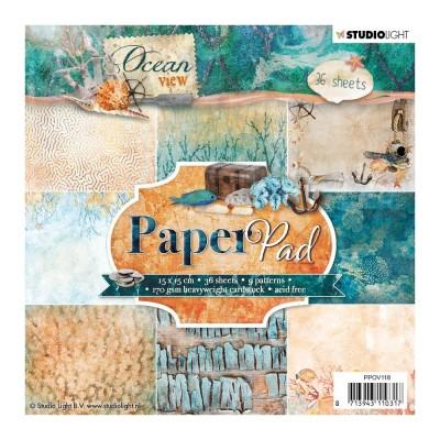 """Studio Light - Bloc de papier «Ocean view» 6"""" X 6""""  36 feuilles"""