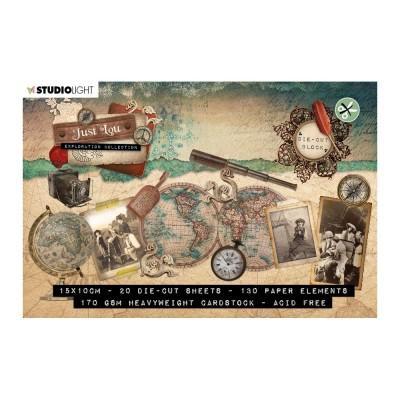 Studio Light - Ensemble d'éphéméras  «Just Lou Exploration collection No 01 Die-Cut Block A6» 20 pages