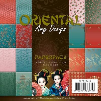 """Fint It - Bloc de papier 23 feuilles recto-verso  «Oriental» 6"""" X 6"""""""
