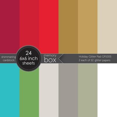 "Memory Box - Bloc de  papier métallique «Glitter Holiday»  6"" X 6""   24 feuilles"