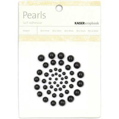 Kaisercraft - Perles  Noires auto-adhésives 50 / emballage