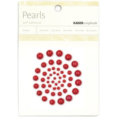 Kaisercraft - Perles  Rouge auto-adhésives 50 / emballage
