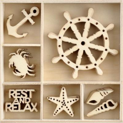 Kaisercraft  - Mini-motifs à thème «Uncharted Waters» 35 pièces