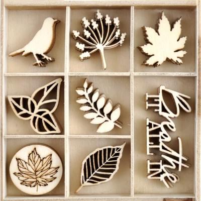 Kaisercraft - Mini-motifs à thème «Fallen Leaves» 40 pièces