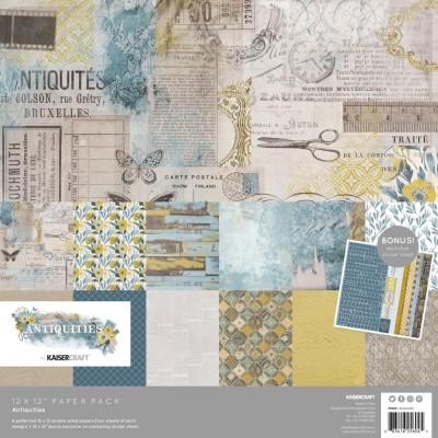 """Kaisercraft - Ensemble de papier «Antiquities» 12""""X12"""" de 12 feuilles"""