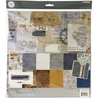 """Kaisercraft - Ensemble de papier «Workshop»  12""""X12"""" de 12 feuilles"""