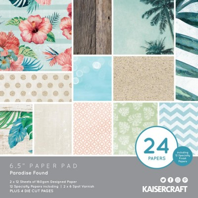 """Kaisercraft - Bloc de papier «Paradise Found»  6.5""""X6.5"""" 40 pages"""