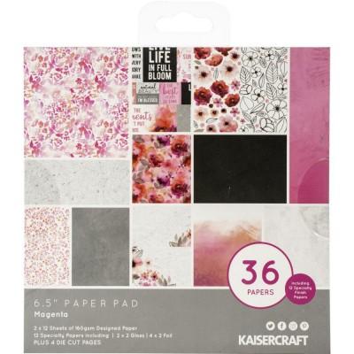 """Kaisercraft - Bloc de papier «Magenta»  6.5""""X6.5"""" 40 pages"""