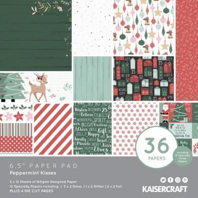 """Kaisercraft - Bloc de papier «Peppermint Kisses»  6.5"""" X 6.5"""" 36 pages"""