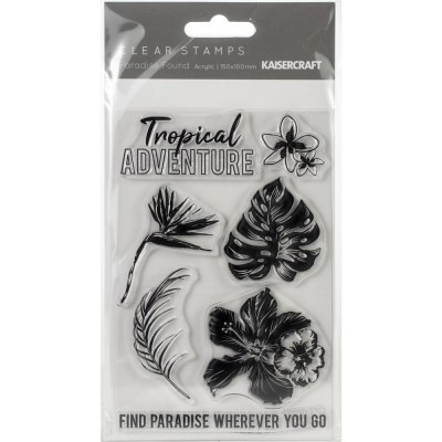 "Kaisercraft - Clear Stamps collection «Paradise Found» 4""X6"" Ensemble de 7 pièces"