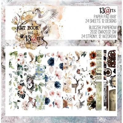 """13arts - Livre d'éphéméras 8"""" X 8""""  «Art Book Vol. 1» 24 pages recto-verso"""