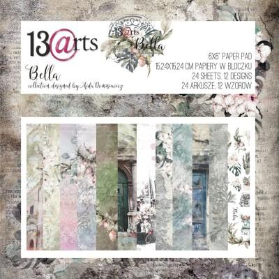 """13 Arts - Bloc de papier «Bella»  24 feuilles recto  6"""" X 6"""""""