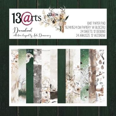 "13 Arts - Bloc de papier «Dreamland»  24 feuilles recto  6"" X 6"""