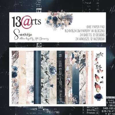 """13 Arts - Bloc de papier «Sunrise»  24 feuilles recto  6"""" X 6"""""""