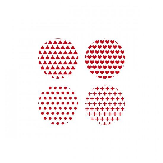 Scrap Fimo - Badges blanc+ rouge