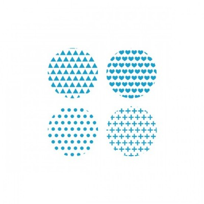 Scrap Fimo - Badges blanc+ aqua