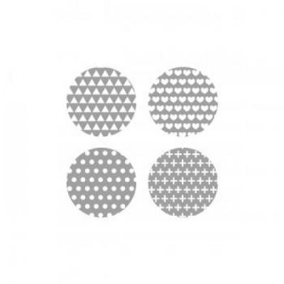 Scrap Fimo - Badges gris