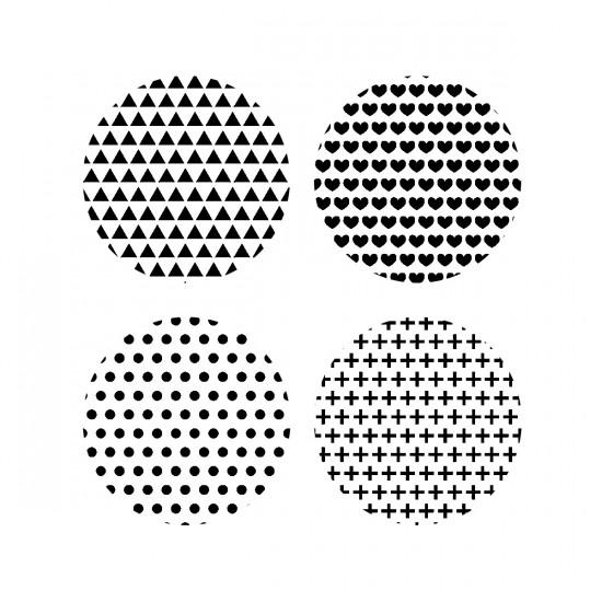 Scrap Fimo - Badges blanc + noir