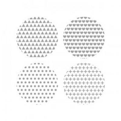 Scrap Fimo - Gros Badges Blanc et Gris «AVBG40»