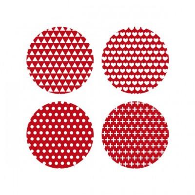 Scrap Fimo - Gros Badges Rouge «AVBG8»