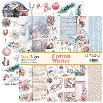 """ScrapBoys - Ensemble de papier «Cotton Winter» 12""""X12"""" de 12 feuilles recto-verso"""