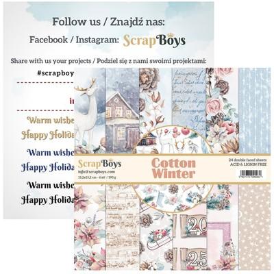 """ScrapBoys - Ensemble de papier «Cotton Winter» 6""""X6"""" de 24 feuilles recto-verso"""