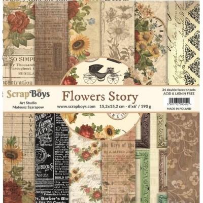 """ScrapBoys - Ensemble de papier «Flowers Story» 6""""X6"""" de 24 feuilles recto-verso"""