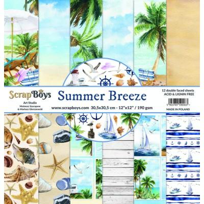 """ScrapBoys - Ensemble de papier «Summer Breeze» 12""""X12"""" de 12 feuilles recto-verso"""