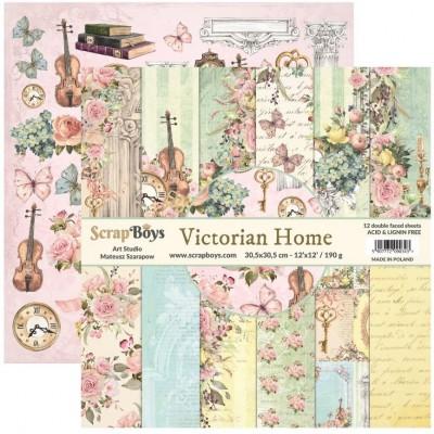 """ScrapBoys - Ensemble de papier «Victorian Home» 12""""X12"""" de 12 feuilles recto-verso"""