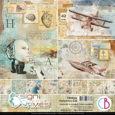 """PRÉCOMMANDE- Ciao Bella - Collection de papier «Sign Of The Times»  8"""" X 8"""" recto-verso 12 feuilles"""