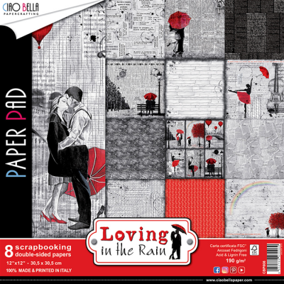 "Ciao Bella - Collection de papier 12"" X 12"" recto-verso 8 feuilles «Loving in the rain »"