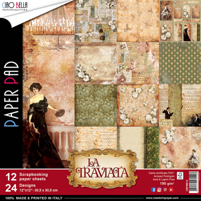 "Ciao Bella - Collection de papier 12"" X 12"" recto-verso 12 feuilles «La Traviata »"