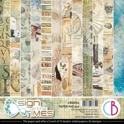 """PRÉCOMMANDE- Ciao Bella - Collection de papier «Sign Of The Times»  6"""" X 6"""" recto-verso 24 feuilles"""