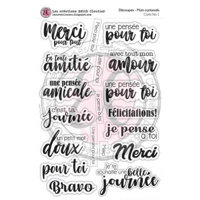 Créations ÉC - Mots cartonnés «Carte no 1» blanc